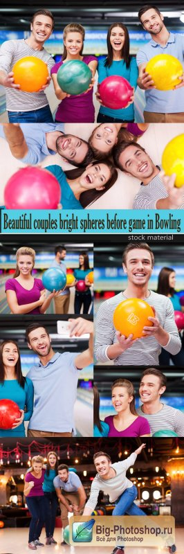 Beautiful couples bright spheres before game in Bowling