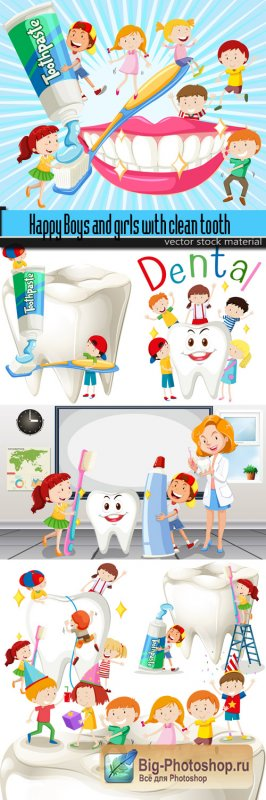 Happy Boys and girls with clean tooth