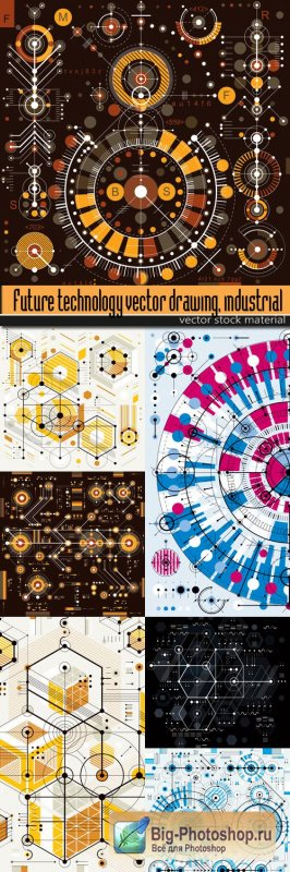 Future technology vector drawing, industrial background