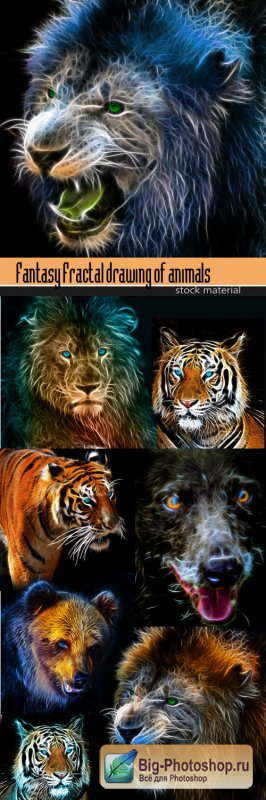 Fantasy Fractal drawing of animals