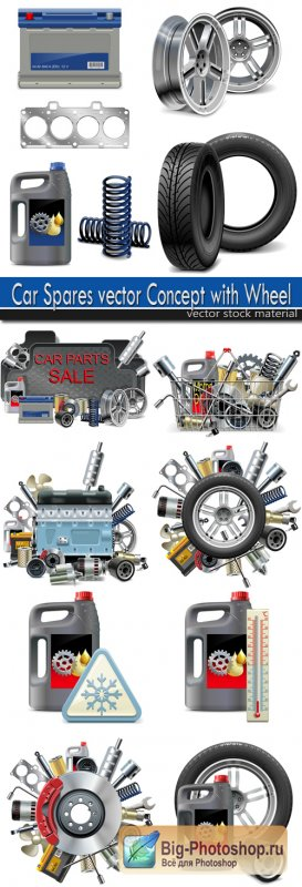 Car Spares vector Concept with Wheel