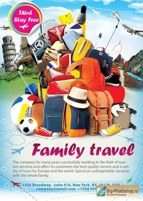 Family Travel V1 Flyer PSD Template + Facebook Cover