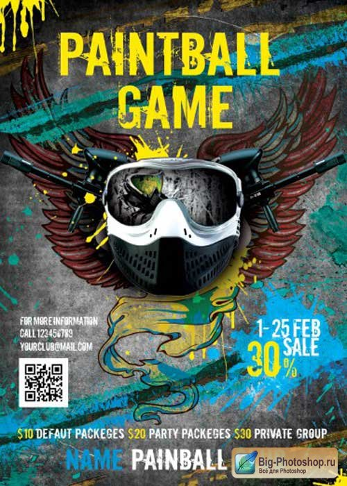 Paintball Game Sport V3 Flyer PSD Template + Facebook Cover