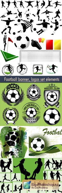Football banner, logos set elements