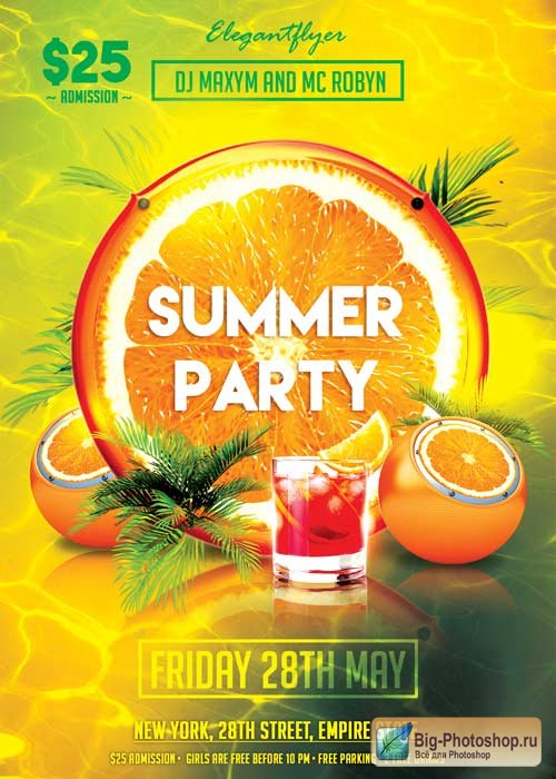 Summer Party V02 Flyer PSD Template + Facebook Cover