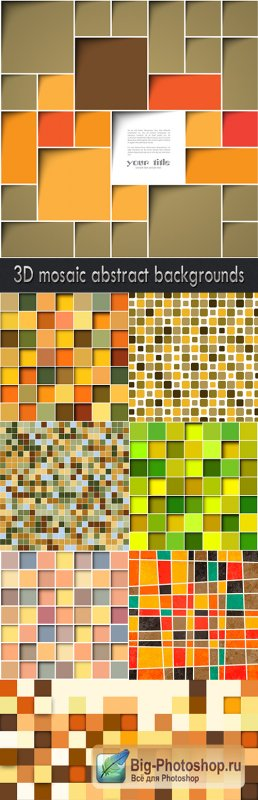 3D mosaic abstract backgrounds