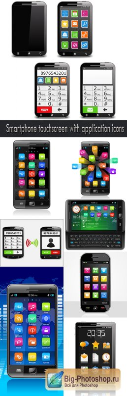Smartphone touchscreen with application icons