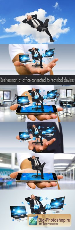 Businessman at office connected to technical devices