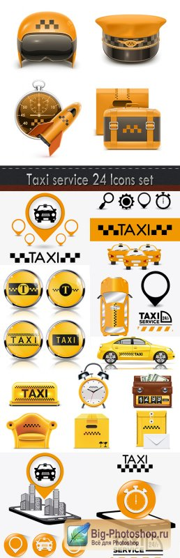 Taxi service 24 Icons set