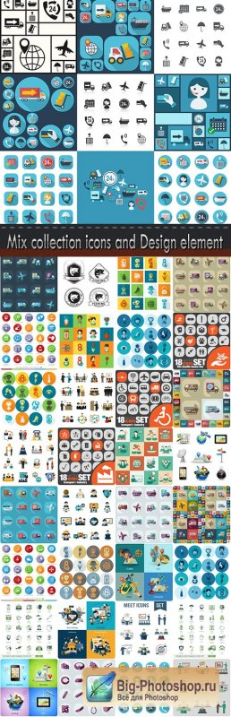 Mix collection icons and Design element