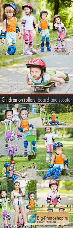 Children on rollers, board and scooter