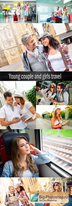Young couple and girls travel