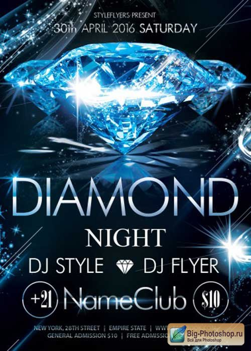 Diamond Night PSD Flyer Template