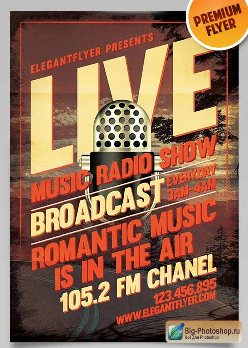 Radio Show V1 Flyer PSD Template + Facebook Cover