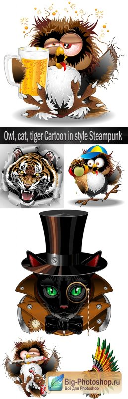 Owl, cat, tiger Cartoon in style Steampunk