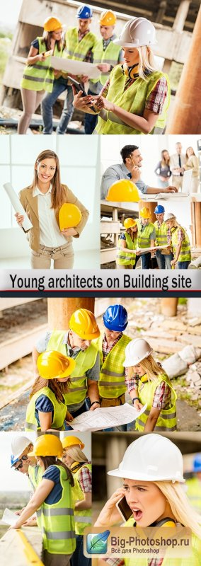Work team young architects on Building site