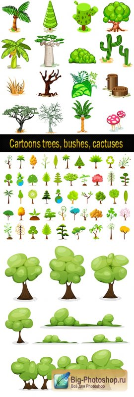 Cartoons trees, bushes, cactuses