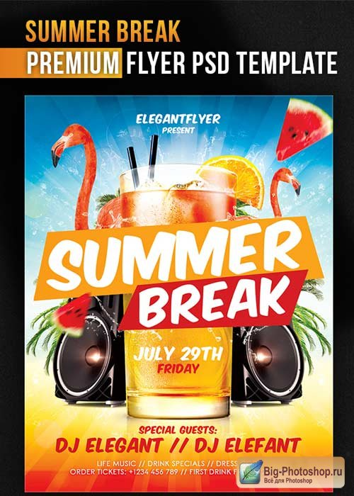 Summer Break V1 Flyer PSD Template + Facebook Cover