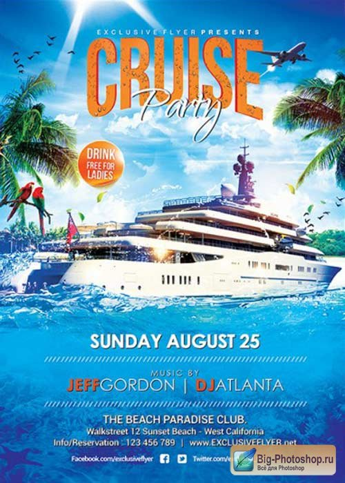 Cruise Party V5 Premium Flyer Template + Facebook Cover