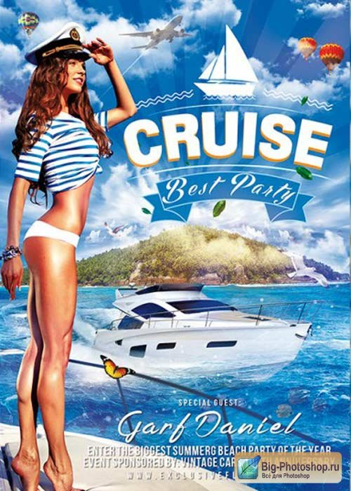 Cruise Best Party V2 Premium Flyer Template + Facebook Cover