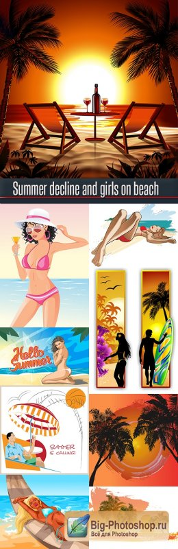 Summer decline and girls on beach