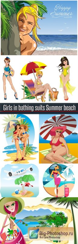 Girls in bathing suits Summer beach