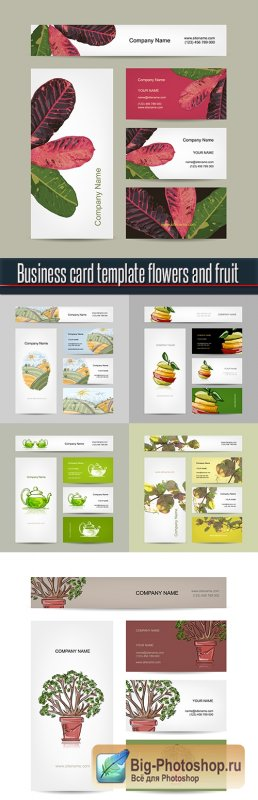 Business card template flowers and fruit