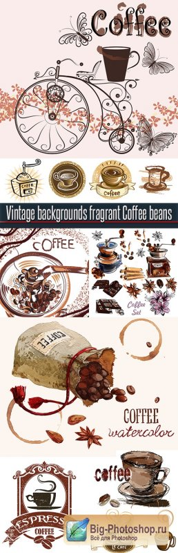 Vintage backgrounds fragrant Coffee beans