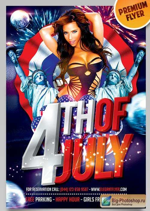 4th of July Celebration V6 Flyer PSD Template + Facebook Cover