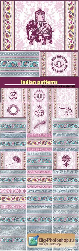 Vector background with Indian patterns and symbols