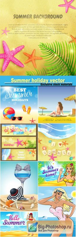 Summer holiday, vector backgrounds, sea and woman in swimsuits