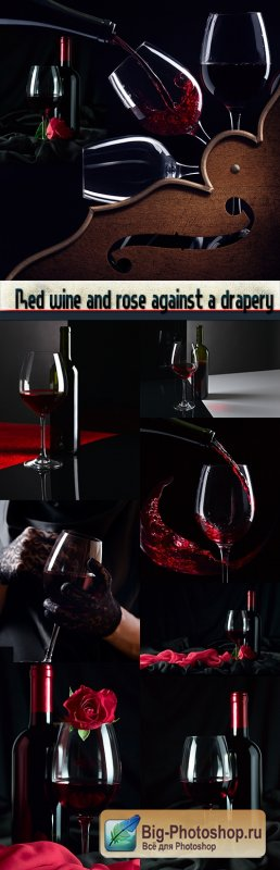 Red wine and rose against a drapery