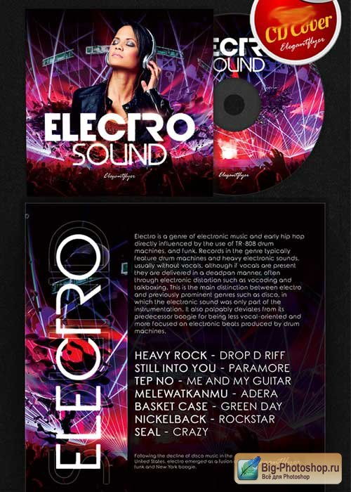 Electro Sound V2 CD Cover PSD Template