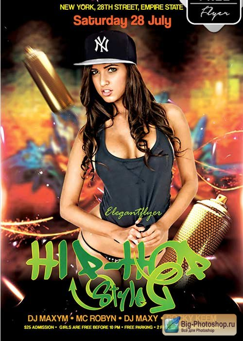 Hip-Hop Style V9 Flyer PSD Template + Facebook Cover