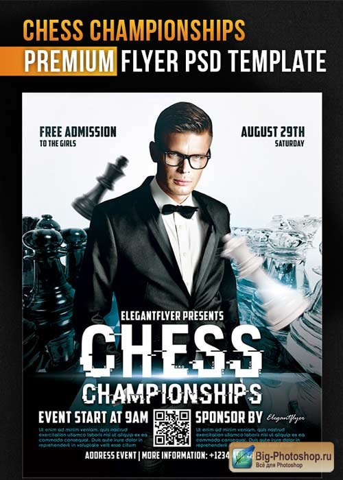 Chess Championships V1 Flyer PSD Template + Facebook Cover