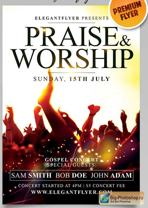 Praise And Worship V1 Flyer PSD Template + Facebook Cover