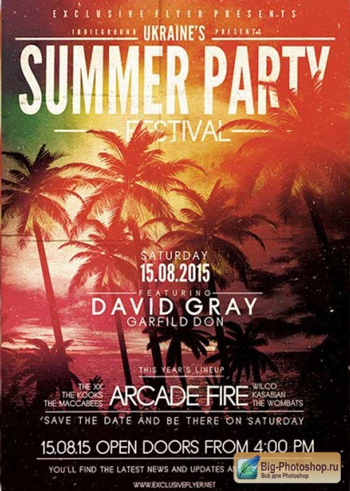 Summer Party Festival V2 Premium Flyer Template + Facebook Cover