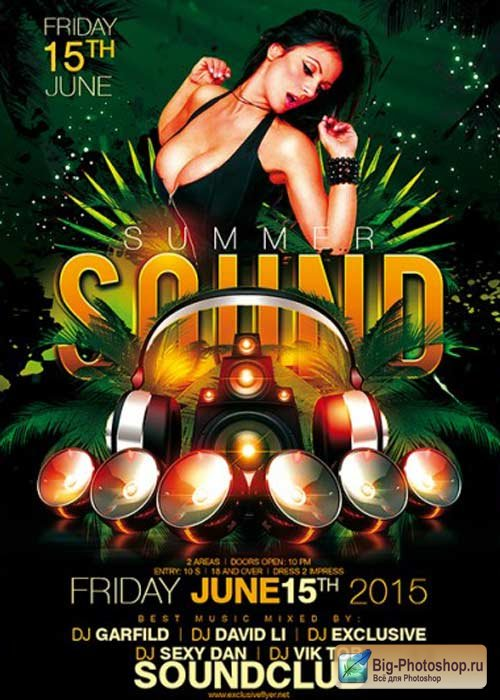 Summer Sound V1 Premium Flyer Template + Facebook Cover