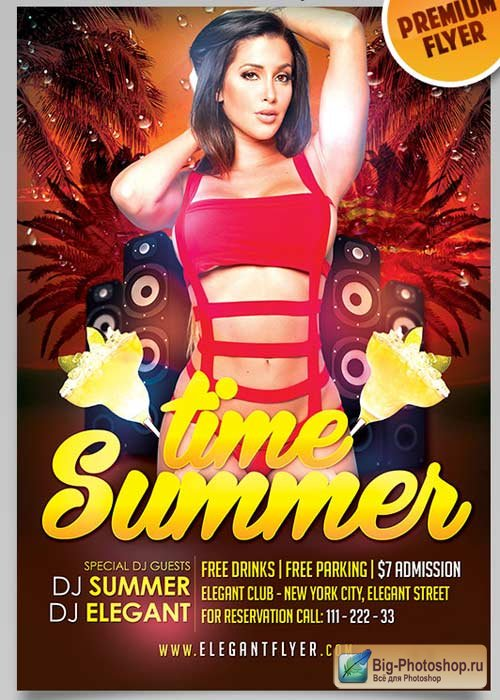 Summer Time V1 Flyer PSD Template + Facebook Cover