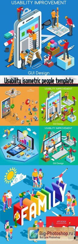 Usability isometric people template