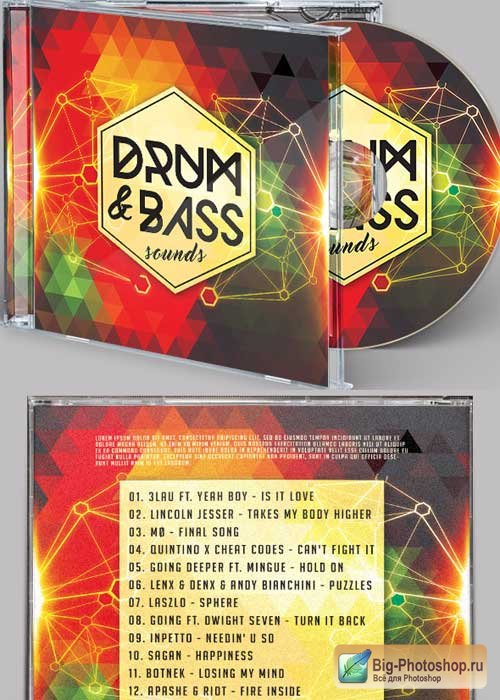 Drum & Bass Sound CD Cover PSD Template