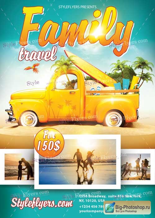 Family Travel PSD V3  Flyer Template