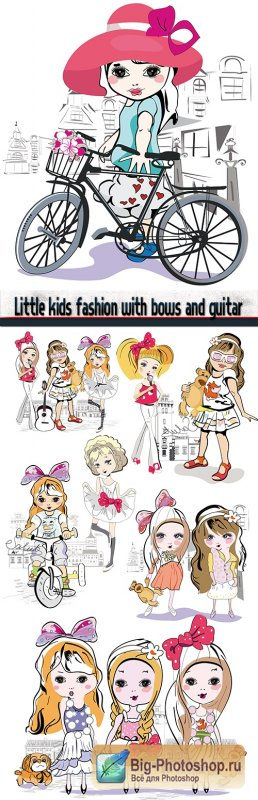 Little kids fashion with bows and guitar