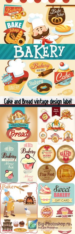Cake and Bread vintage design label