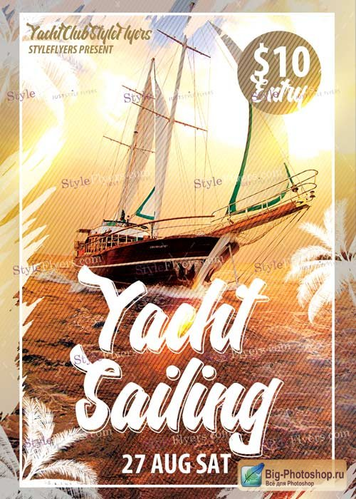 Yacht Sailing PSD V10 Flyer Template