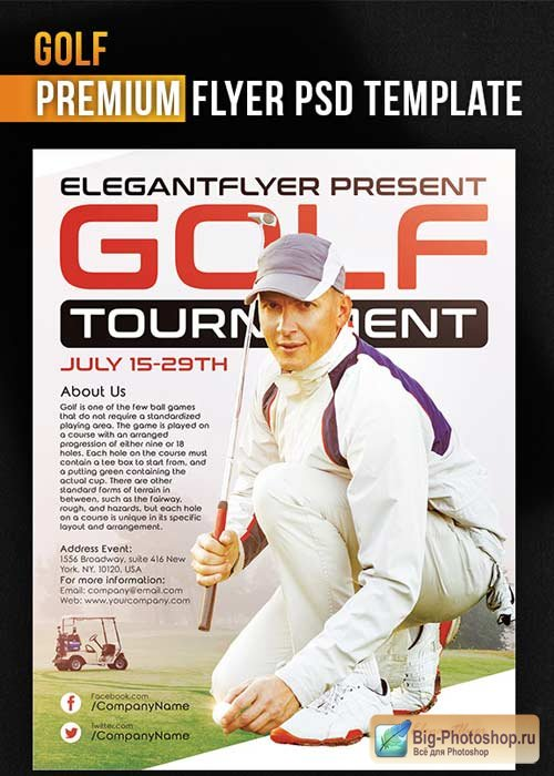 Golf Flyer V3 PSD Template + Facebook Cover