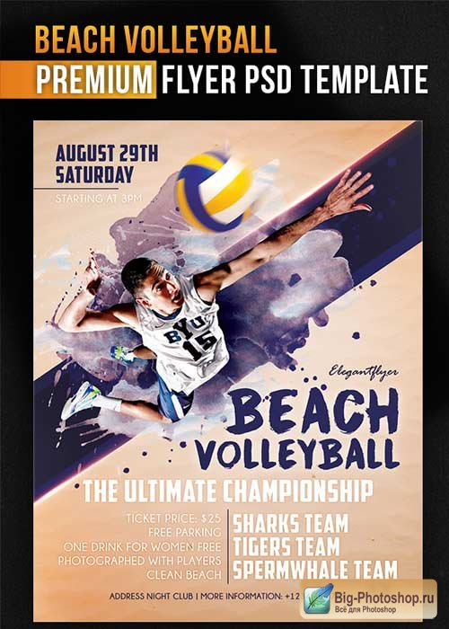 Beach Volleyball Flyer PSD Template + Facebook Cover