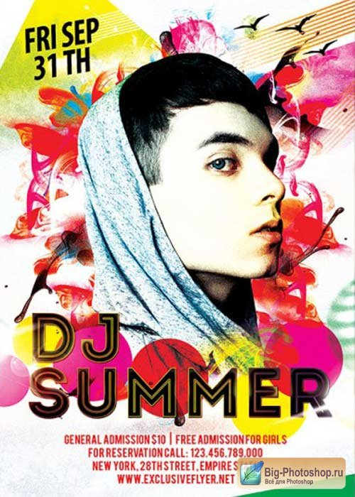 Dj Summer V4 Premium Flyer Template+ Facebook Cover