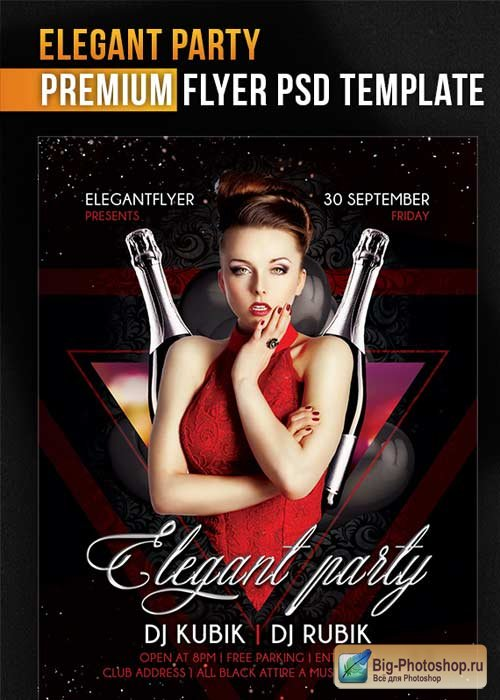 Elegant Party V9 Flyer PSD Template + Facebook Cover