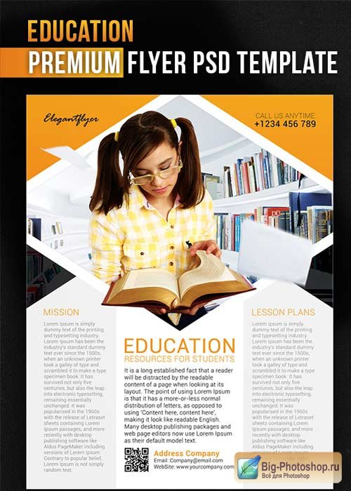 Education V1 Flyer PSD Template + Facebook Cover